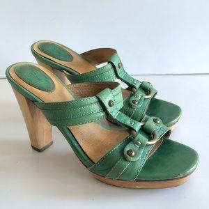Frye mint green Gerry slide sandal wood heel 8